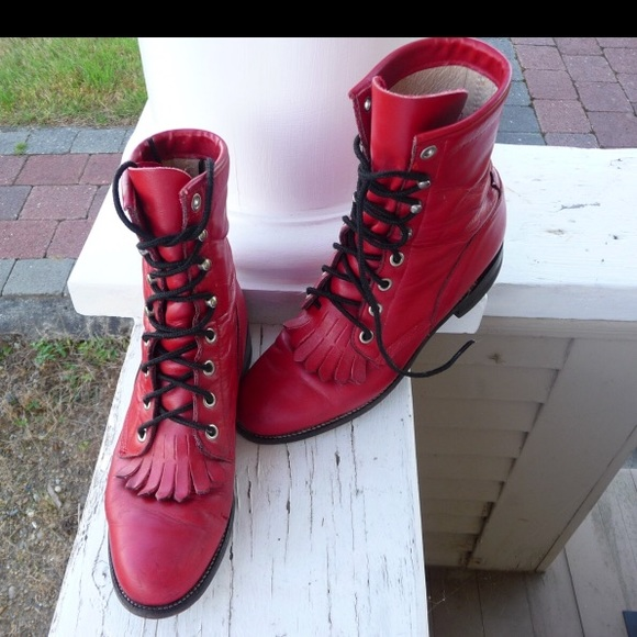Vtg Justin Red Leather Lace Up Boots